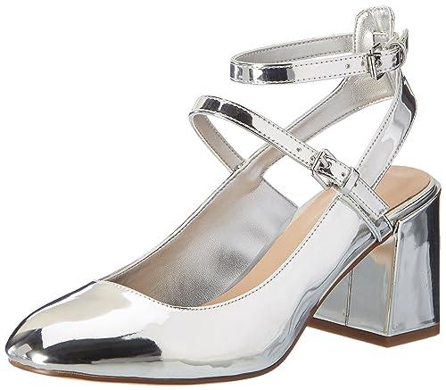 FIND Scarpe a Punta con Cinturino alla Caviglia Donna Argento Silver
