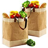 EXULTIMATE Reusable Jute French Market Tote Burlap Grocery Bags with Faux Leather Strap Handles, Interior Pocket, and Plastic Waterproof Lining Jute Shopping Bag, Set of 2