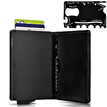 Billetera SARKO | Cartera para Tarjeta de Crédito de Aluminio con Bloqueo de RFID Más Herramienta