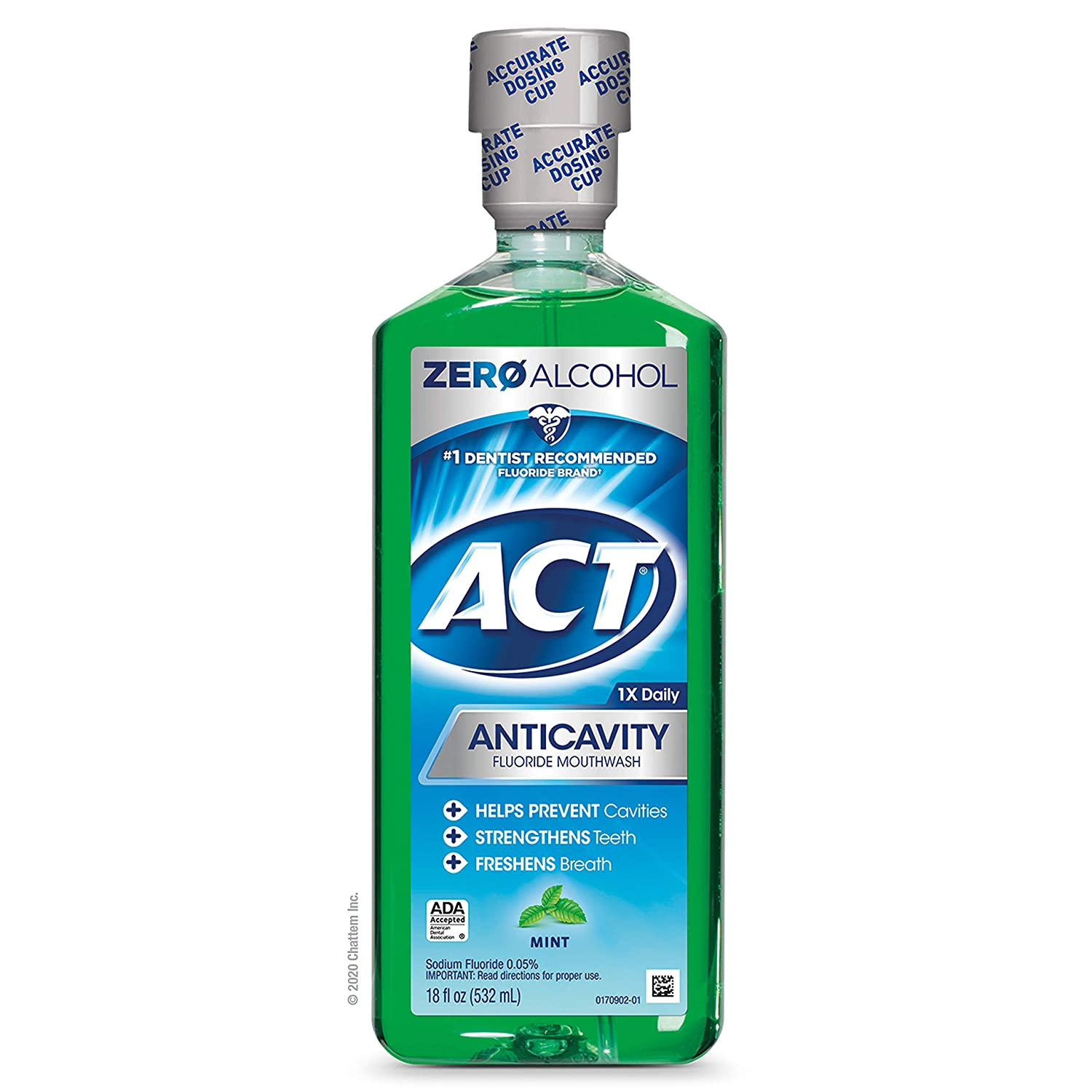 ACT Alcohol Free Anti-Cavity Fluoride Mouthwash Mint 18 oz Helps Prevent Cavities, Strengthen Tooth Enamel and Freshen Breath with Fluoride & Exact Dosage Meter