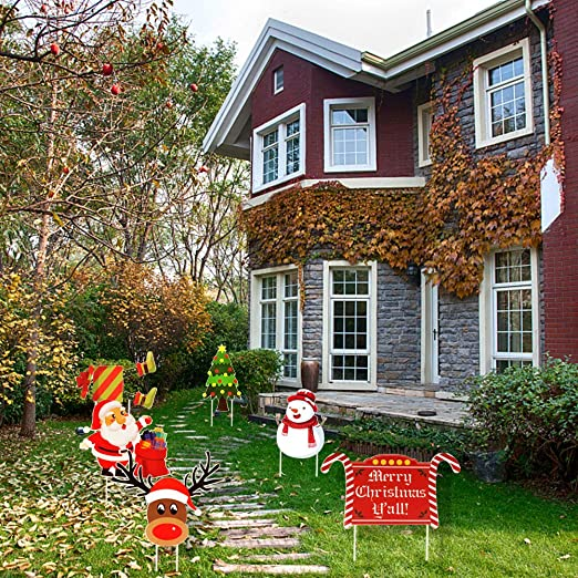 Large Lawn Stakes for Green Details about  /Christmas Decorations Outdoor Yard Sign 6 Pack