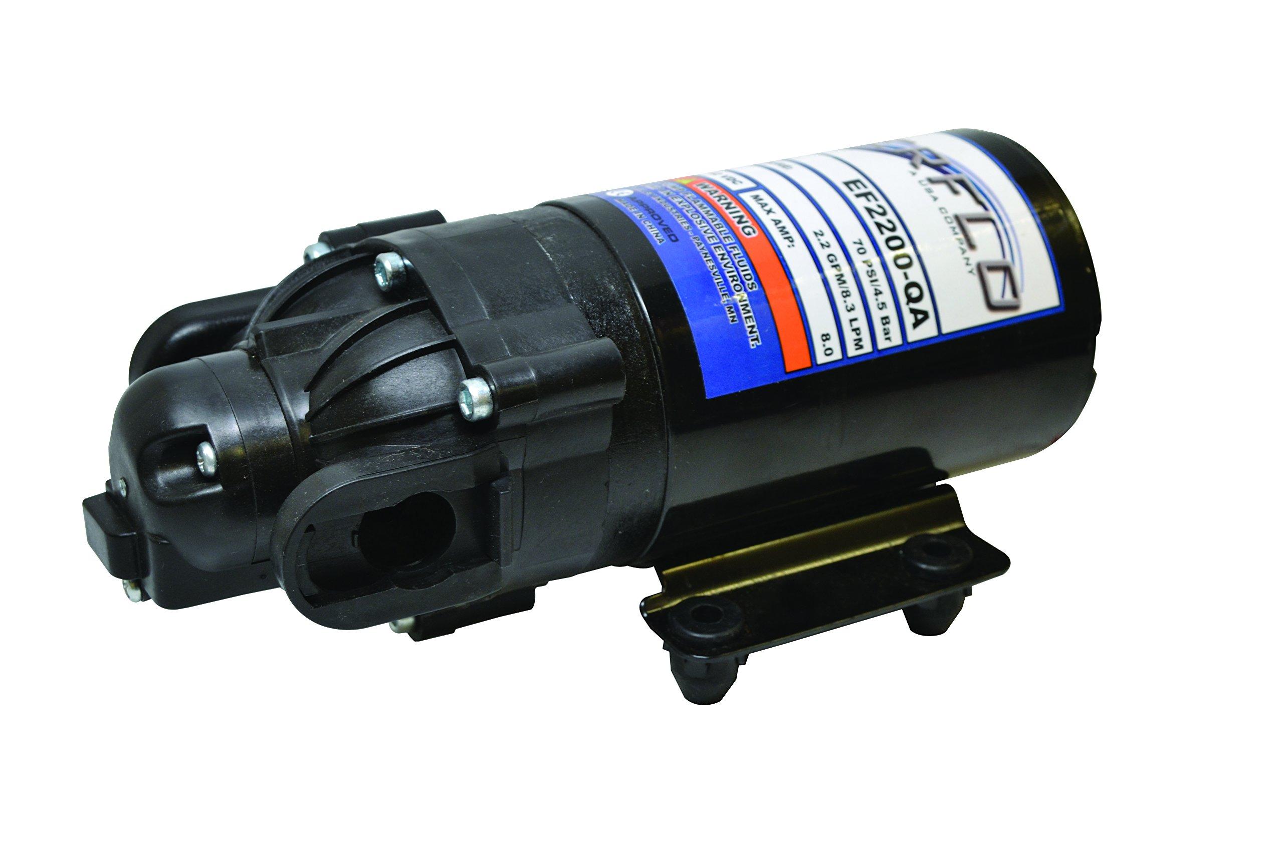 Everflo EF2200-QA-BOX 2.2GPM 12V Diaphragm Pump-Quick Attach Port, Black