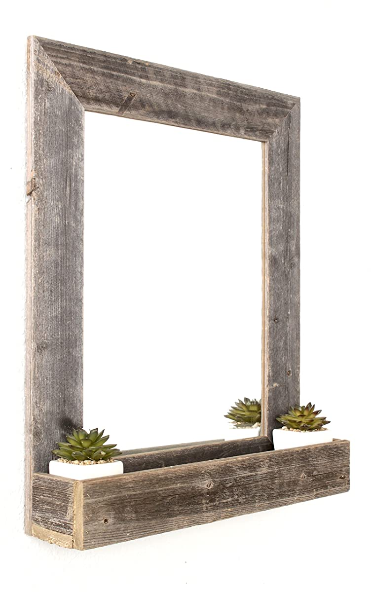 BarnwoodUSA | Farmhouse Beveled Edge Mirror with Shelf - 100% Up-cycled Wood