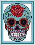 """eGoodn Cross Stitch Stamped Kits 11CT 3 Strands 11""""X15.4"""" Cross-Stitching Accurate Pre-printed Pattern - Skull, Handmade Needlework Set Embroidery DIY Home Decoration Without Frame"""