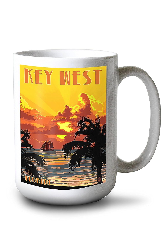 キーWest , Florida – Sunset And Ship 15oz Mug LANT-3P-15OZ-WHT-44819 B077RQDGLG  15oz Mug