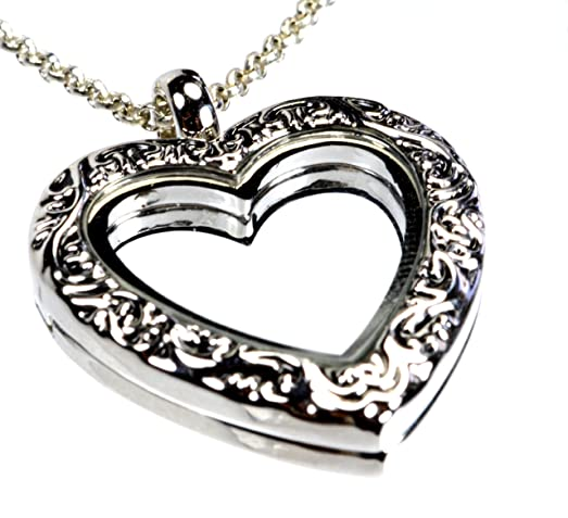 Amazon heart shaped 30mm floating charm locket necklace chain heart shaped 30mm floating charm locket necklace chain 22 inch filigree rim magnetic closure 331 mozeypictures Images