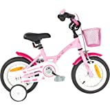 "PROMETHEUS Kids bike 12 inch girl bike in colour pink purple & white with stabilisers | Caliper brake and backpedalling brake | From age 3 years | 12"" Classic Edition 2017"