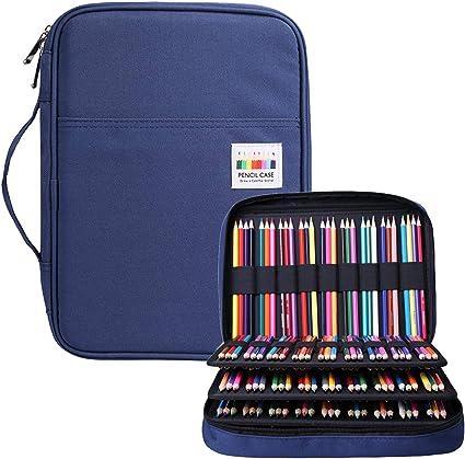 BOMKEE Estuche organizador de lápices de colores con 220 ranuras y cremallera para estudiantes, niños, adultos, artistas, recargas, resistente al agua, estuche para lápices (azul): Amazon.es: Oficina y papelería