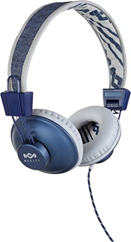 House of Marley, Positive Vibration Headphones Wired, On-Ear, in-Line Microphone, Durable, Comfortable Denim