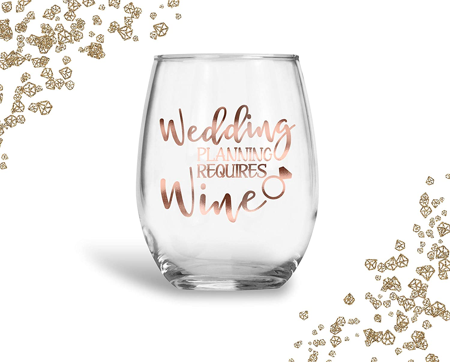 Bride Wedding Planning Requires Wine Rose Gold Glass