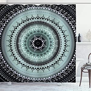 Ambesonne Mandala Shower Curtain, Vintage Yantra with Lines Path of Soul Inner Peace Energy Cosmos Design, Cloth Fabric Bathroom Decor Set with Hooks, 70
