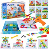 223 Piece Creative Mosaic Drill Puzzle Kit, Electric Drill and Screwdriver Tool Set Toy, STEM Engineering Education…