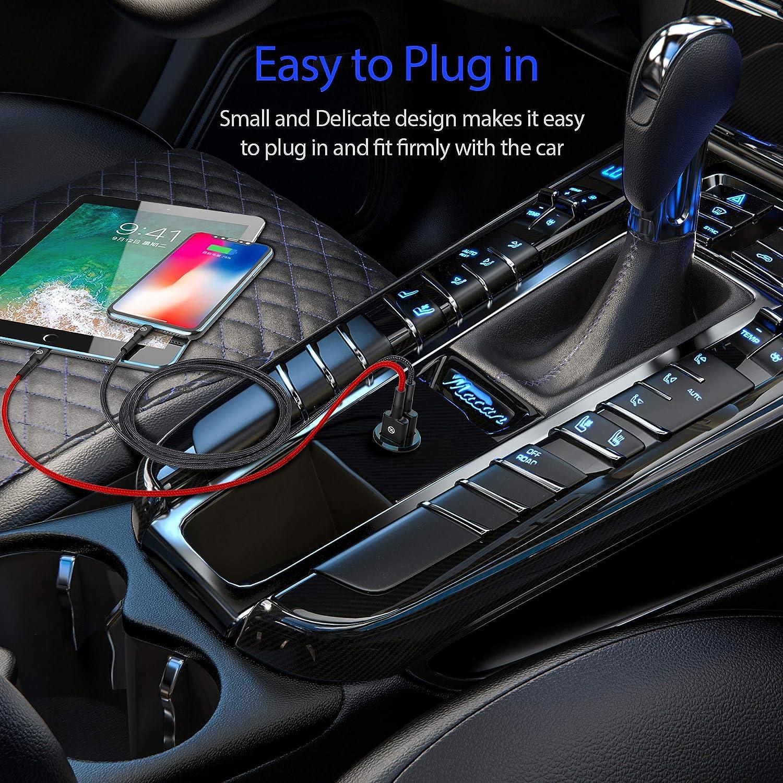 Black iPad Pro//Air 2//Mini,Samsung Galaxy Car//USB Charger,Headear Helius Q2 Mini 24W 4.8A Dual USB Car Charger,Flush Fit Car Adapter for iPhone XR//Xs//Max//X//8//7//Plus Note,LG,Pixel,HTC and More