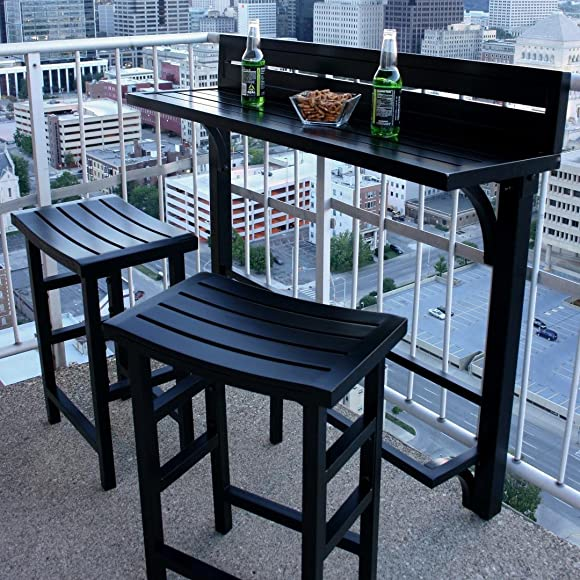 MIYU Furniture 3-piece Balcony Bar Onyx