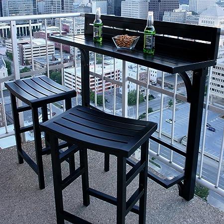 MIYU Furniture 3-piece Balcony Bar Onyx