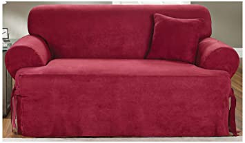 sure fit soft suede tcushion loveseat slipcover burgundy sf34668