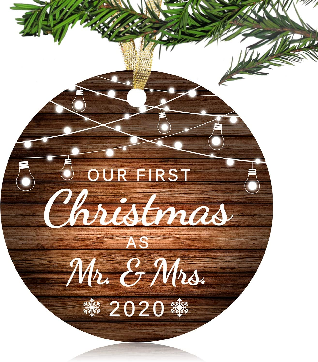 "NURIONSS Our First Christmas as Mr & Mrs Ornaments 2020 - Christmas Wedding Decoration Gift for Couple Married Newlyweds - 3"" Ceramic Ornament(Mr & Mrs)"
