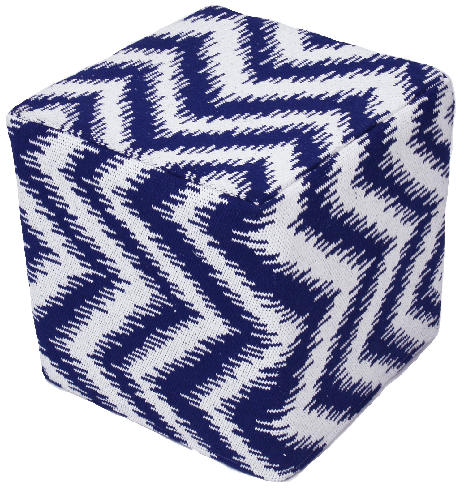 Design Accents Chevron Hand Woven Pouf, 18-Inch by 18-Inch by 18-Inch, Indigo/Ivory