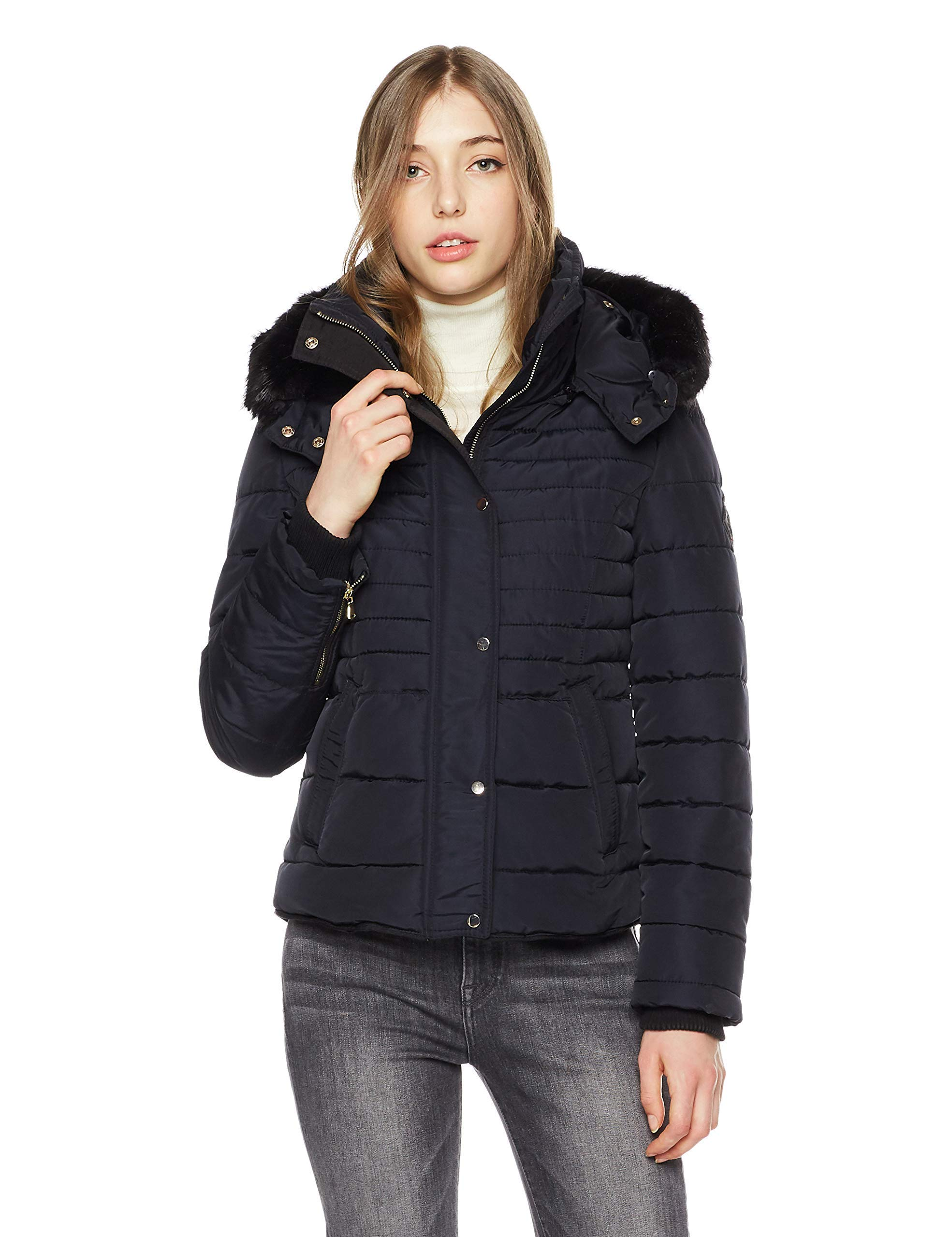 Royal Matrix Womens Classic Bomber Short Down Jacket with Removable Faux Fur Casual Coat