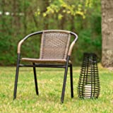 Flash Furniture Dark Brown Rattan Indoor-Outdoor Restaurant Stack Chair, (Dark Brown, 8 Pack)
