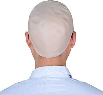 WHITE BALD CAP FANCY DRESS COSTUME ACCESSORY HAT HEADGEAR SKINHEAD FUNNY UNCLE