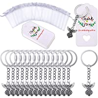 30 Pieces Angel Keychain Angel Pendant Keychain Key Ring with Thank You Kraft Tags Organza Bags