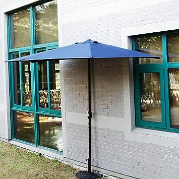 Kinbor Half Round 5 Ribs 10FT Outdoor Aluminum Patio Umbrella Wall Window  Corner Umbrella Crank Without