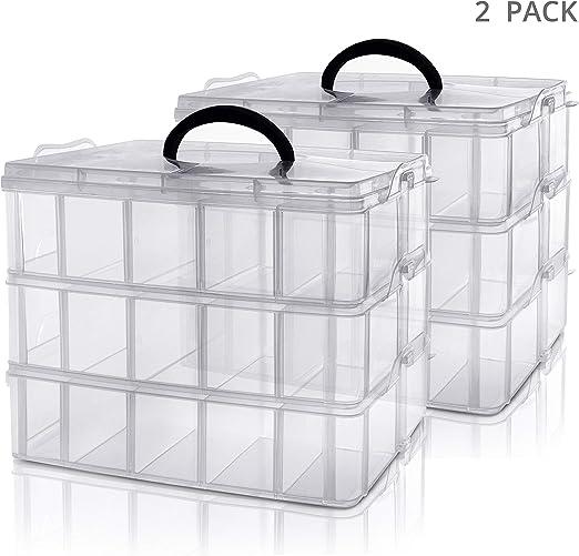 Kurtzy Caja Almacenamiento Plastico 3 Niveles (Pack de 2 ...