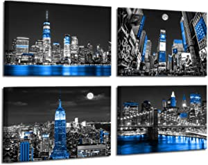 Modern Wall Art Manhattan Paintings for Wall Black and White Blue Wall Decor New York Skyline Wall Decorations for Living Room Artwork for Home Walls Framed Wall Art Bedroom Decor 12x16inchx4pcs