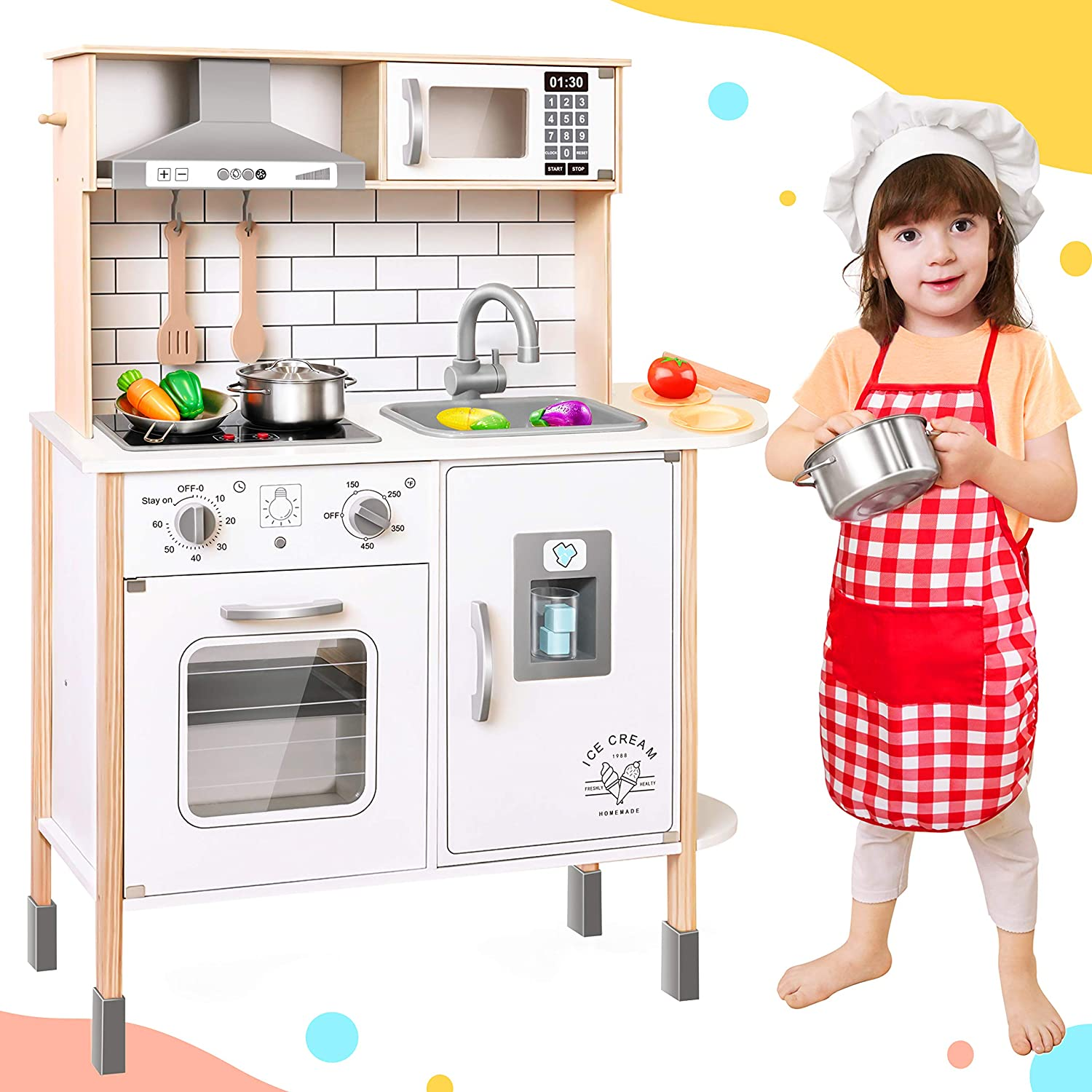 Play-Kitchen-for-Kids with 18 Toy Food & Cookware Accessories Playset Wooden Chef Pretend Play Set for Toddlers with Real Lights & Sounds