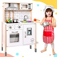 Play-Kitchen-for-Kids with 18 Pcs Toy Food & Cookware Accessories Playset Wooden Chef Pretend Play Set for Toddlers with Real Lights & Sounds