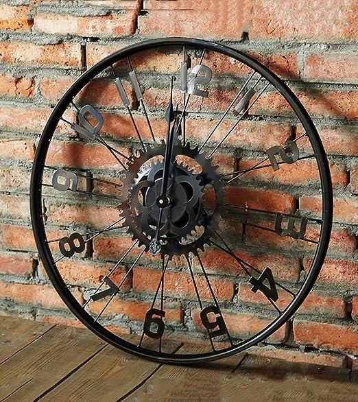ZHENAI reloj de pared Rueda de bicicleta Retro Viento industrial ...