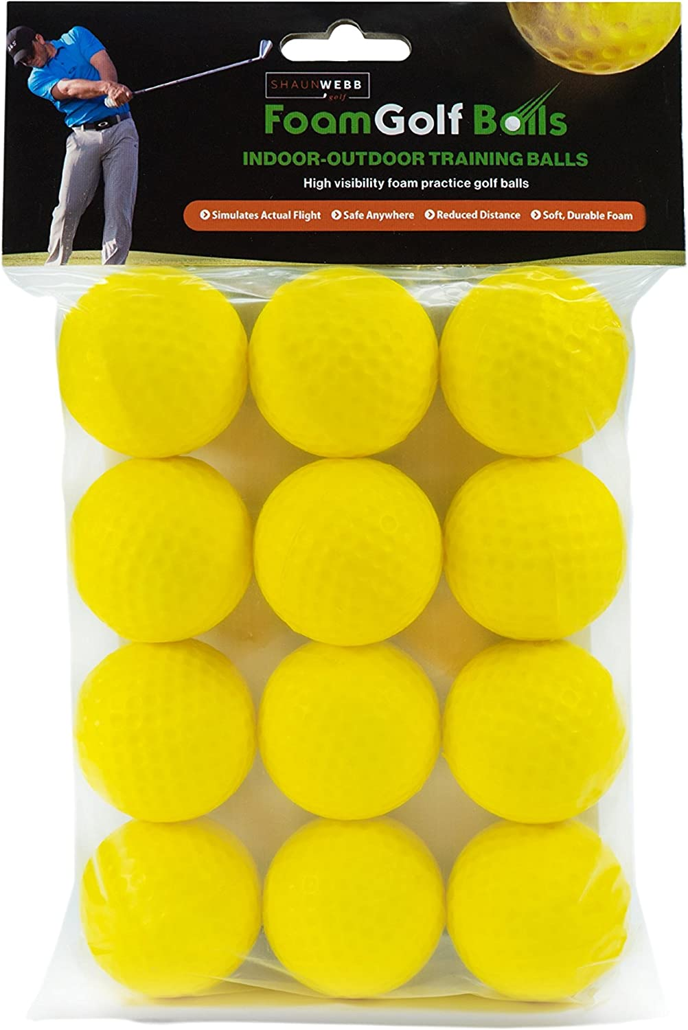 SHAUN WEBB Soft Golf Balls Pack of 12 Yellow Foam Practice Balls Dent Resistant, Long Lasting, Limited Flight – Perfect for Home and Office.