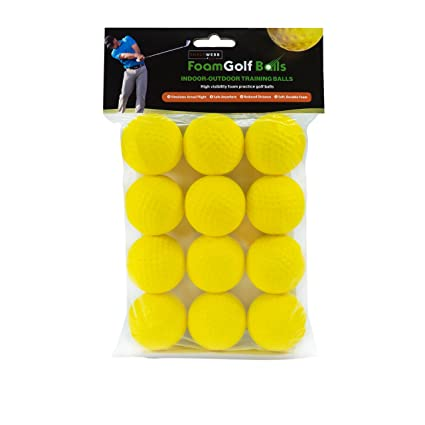 SHAUN WEBB Soft Golf Balls (Pack of 12 Yellow Foam Practice Balls) Dent Resistant, Long Lasting, Limited Flight - Perfect for Home and Office.
