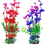 Mudder Artificial Aquatic Plants Aquarium Plants Plastic Fish Tank Decorations 7.5 Inch, 2 Pieces