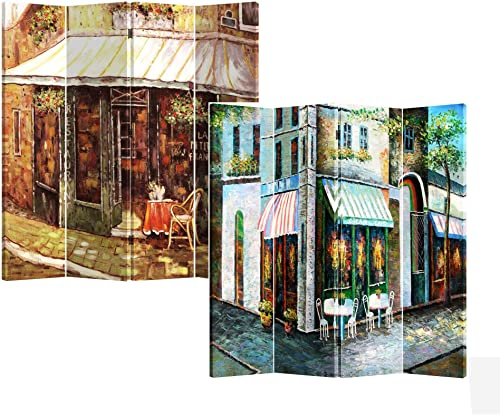 Roundhill Furniture 4-Panel Double Sided Canvas Painting Room Divider Screen, Corner Store