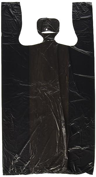 Amazon.com: 100ct Black Plastic T-shirt Shopping Bags (6x4x15 ...
