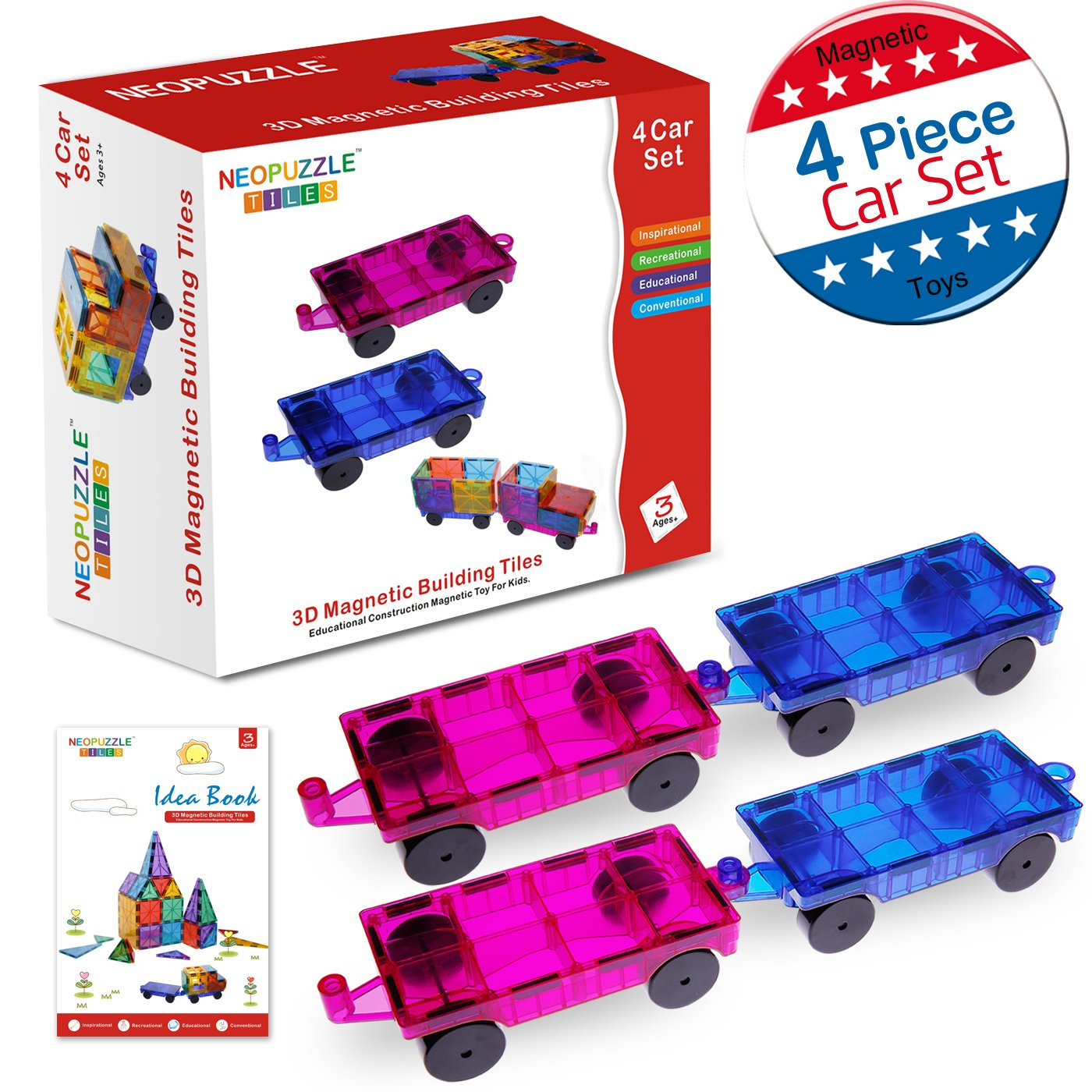 Magnetic Building Tiles 4 Piece Cars Set, Kids Magnet Toys Magnetic Blocks Wheel Bases for Kids Children Review