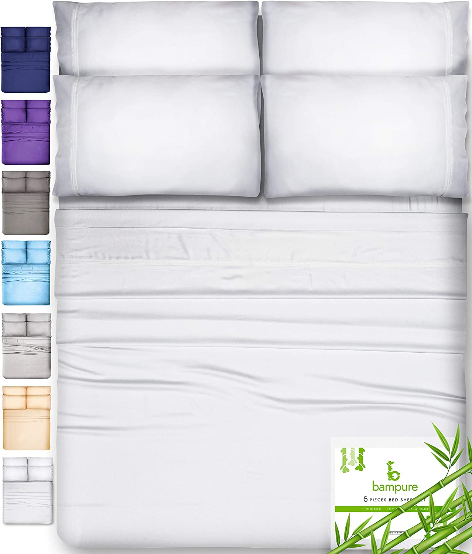6 Piece Bamboo Sheets Queen Bamboo Sheets - 100% Organic Bamboo Bed Sheets Queen Sheet Set Cooling Sheets Queen Size Sheets Deep Pocket Queen Sheets Queen Bed Sheets Queen Size Cool Sheets White