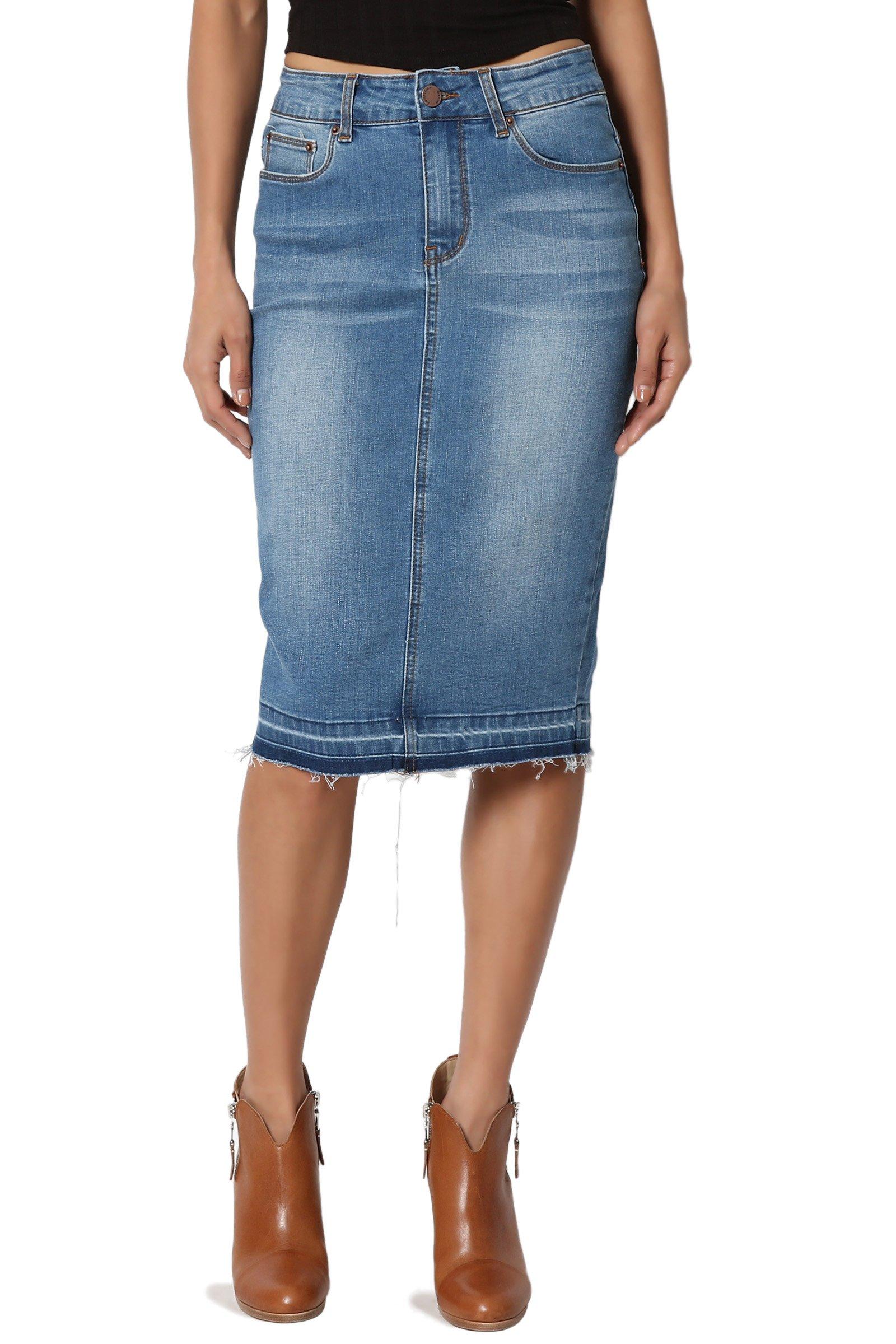 TheMogan Women's Butt Lift Washed Blue Jean Pencil Midi Soft Denim Skirt Light L