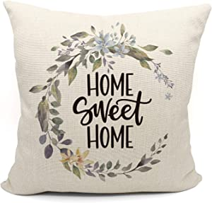 Mancheng-zi Farmhouse Home Sweet Home Olive Throw Pillow Case,Housewarming Gifts Family Room Decor,Family Cotton Linen Cushion Cover for Sofa Couch Bed Decoration18 x 18 Inch