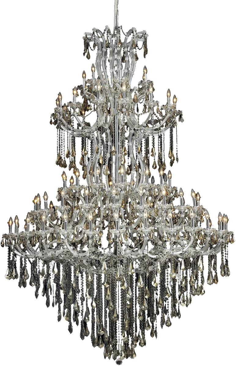96 in. Chandelier in Chrome with Golden Teak Royal Cut Crystal