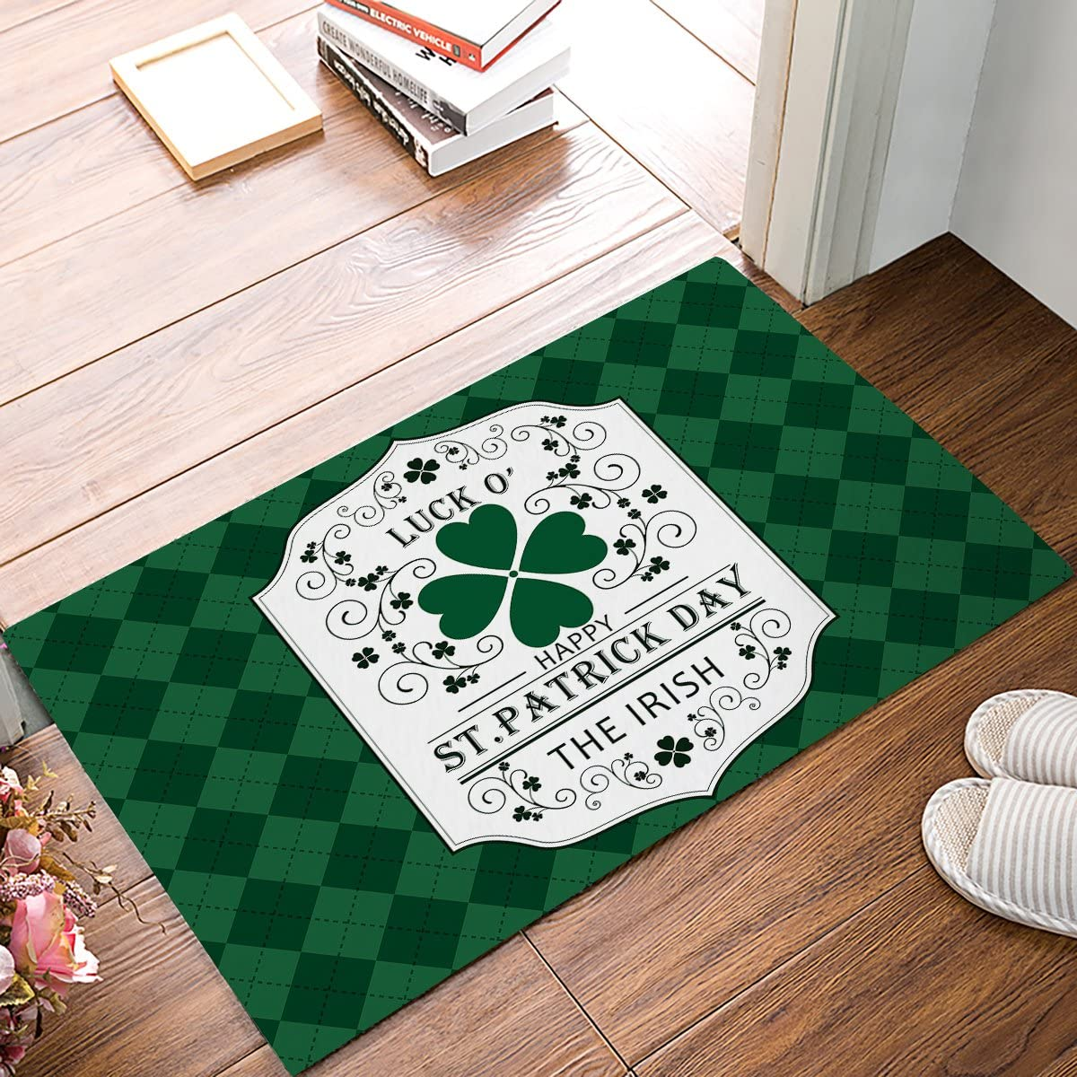 ST Patrick s Day, Saint Pattys Irish Indoor Outdoor Non-Slip Rubber Welcome Mats Floor Rug for Bathroom Front Entryway 30 L x 18 W
