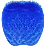CERRXIAN Silicone Foot Bursh Scrubber Massager Shower Foot Brush Deep Clean Exfoliate Spa Increases Circulation (Bead, Blue)