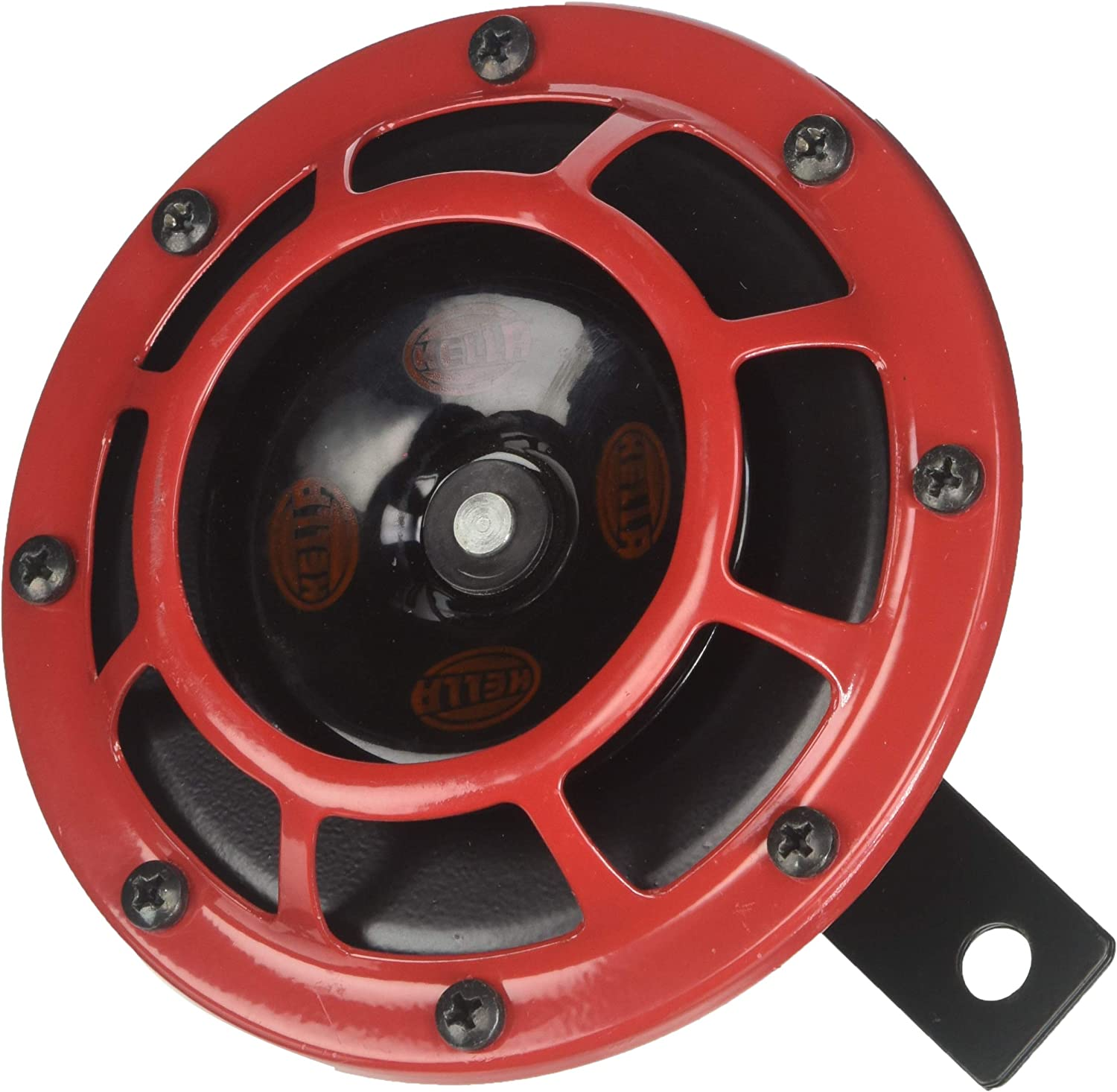 Single Horn HELLA H31631021 Supertone 12V High Tone Horn with Red Protective Grill