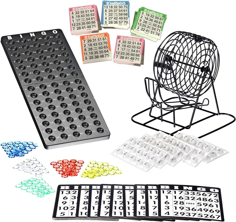 Bingo Lotto Numbers Machine Game made of metal | 75 bowls | 500 Bingo cards | 150 Bingo chips | event board included: Amazon.es: Juguetes y juegos