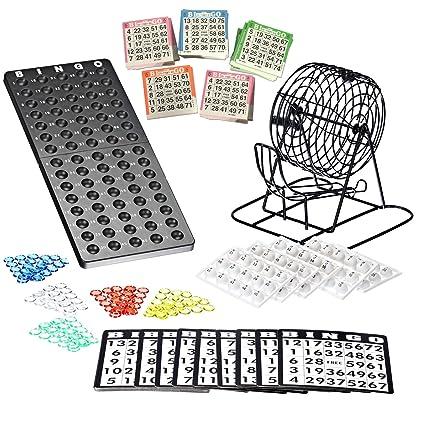 Bingo Lotto Numbers Juego de máquina hecho de metal, 75 cuencos, 500 tarjetas de