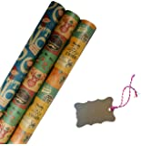 K-Kraft Vintage Prints Christmas Kraft Wrapping Paper Sets - 112.5 Square feet per Set (Vintage Prints with Kraft Tags)