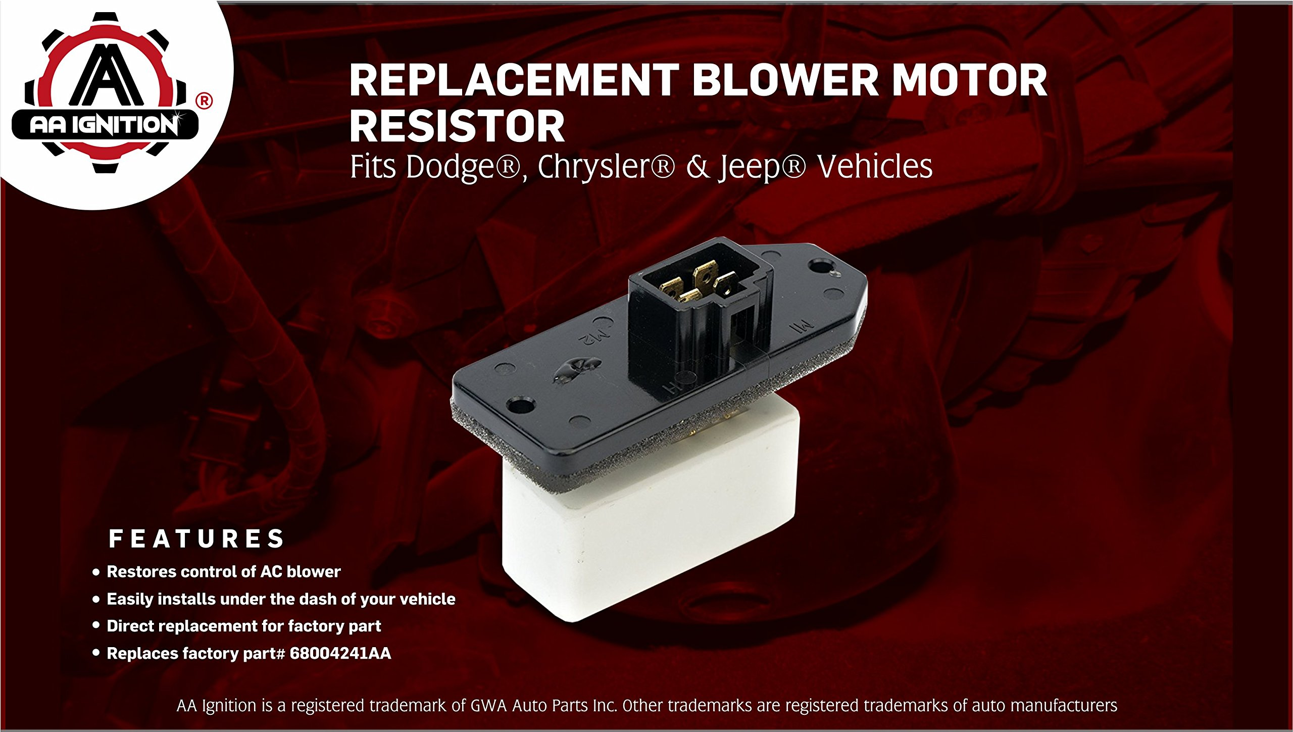 Hvac Blower Motor Fan Resistor Ac Heater Relay Replaces 973 020 2001 Jeep Grand Cherokee Wiring Harness 68004241aa 5012212aa 4720278 Fits Dodge Ram 1500 2500 Chrysler Concorde