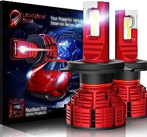 LIGHTENING DARK H4 9003 led headlight bulb, 16000 Lumens Extremely Bright Nucleus Pro Conversion Kit - 6500K Cool White, Adjustable Beam